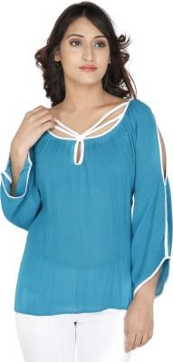 Franclo Casual Petal sleeve Self Design Women's Blue Top