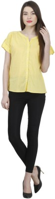 Uptowngaleria Formal Short Sleeve Solid Women's Yellow Top