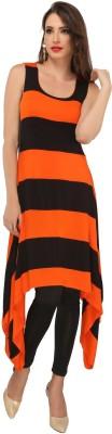 Ira Soleil Casual Sleeveless Striped Women's Black Top