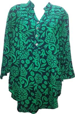 Deesha Casual 3/4 Sleeve Self Design Women's Green Top
