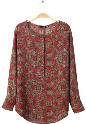 Gifts & Arts Casual Full Sleeve Printed Women,s Red Top