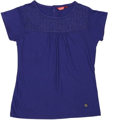 Elle Casual Cape Sleeve Solid Girl's Purple Top