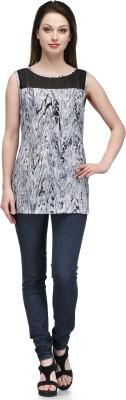 Glamdiva Casual Sleeveless Geometric Print Women's Black Top