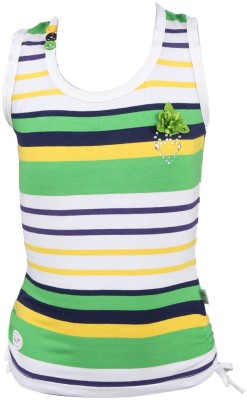 Pami Party Sleeveless Striped Baby Girl's Green Top