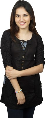 Kaaf Fashion Casual, Formal 3/4 Sleeve Solid Women's Black Top