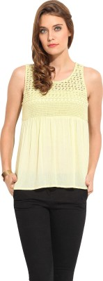 Rena Love Casual Sleeveless Solid Women's Yellow Top