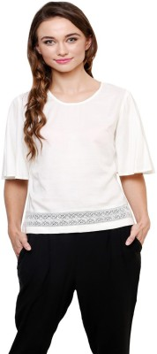 AT BY TARUNA Casual Short Sleeve Solid Women's Beige Top