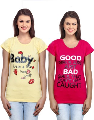 IndiWeaves Casual Short Sleeve Printed Girl's Yellow, Red Top