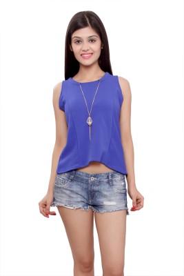 Maya Apparels Party Sleeveless Solid Women's Light Blue Top