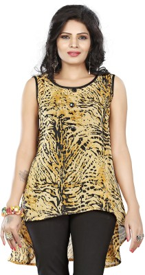 Twinkal Casual, Lounge Wear, Party Sleeveless Printed, Floral Print, Graphic Print Women's Yellow Top
