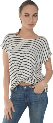 Trend Notes Casual Short Sleeve Striped Women's Black Top