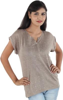 Aimeon Casual Short Sleeve Self Design Women's Brown Top