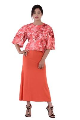 Fashnopolism Casual 3/4 Sleeve Self Design Women's Orange Top