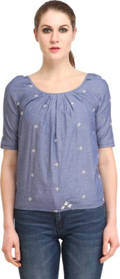 Amirich Casual Short Sleeve Embroidered Women's Blue Top