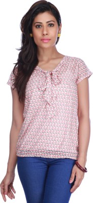 Stop To Start by Shoppers Stop Casual Short Sleeve Printed Women,s Pink Top