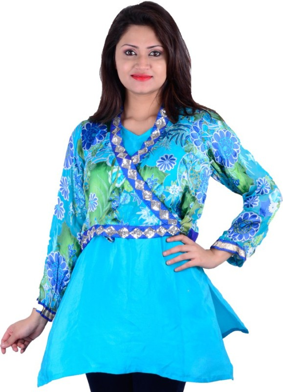 SMUK Party Full Sleeve Printed Women's Blue Top
