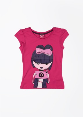 Puma Casual Short Sleeve Printed Girl's Pink Top