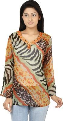 Oorja Casual Full Sleeve Printed Women's Orange, Green Top