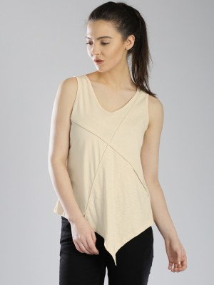 HRX by Hrithik Roshan Casual Sleeveless Solid Women's Beige Top at flipkart
