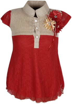 Jazzup Casual Short Sleeve Solid Girl's Red Top