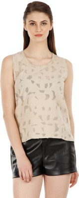 Fuziv Casual Sleeveless Solid Women's Beige Top