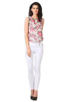 Sei Bello Casual Sleeveless Floral Print Women's White Top
