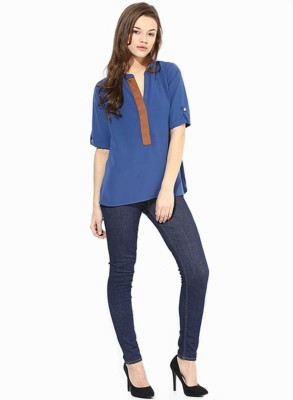 Archini Casual, Formal, Party Roll-up Sleeve Solid Women's Blue Top