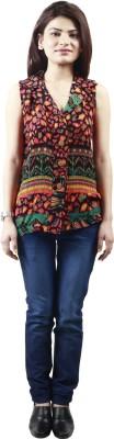 GUDS Casual Sleeveless Printed Women's Orange Top