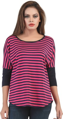 FamGlam Casual Short Sleeve Striped Women's Multicolor Top