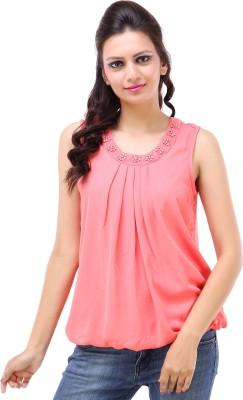 Kashana Fashions Casual Sleeveless Solid Women's Pink Top