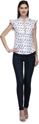 Glamdiva Casual Short Sleeve Printed Women's White Top