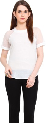 Ridress Casual Short Sleeve Solid Women's White Top