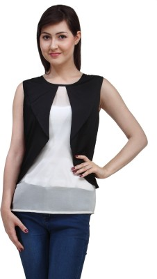 Eves Pret A Porter Casual Sleeveless Solid Women's Black, White Top