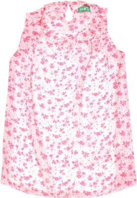 Palm Tree Casual Sleeveless Printed Girl's White, Pink Top