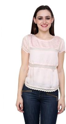 Fashley London Casual Short Sleeve Solid Women,s Beige Top