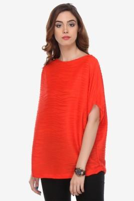 Varanga Party Kimono Sleeve Solid Women's Orange Top