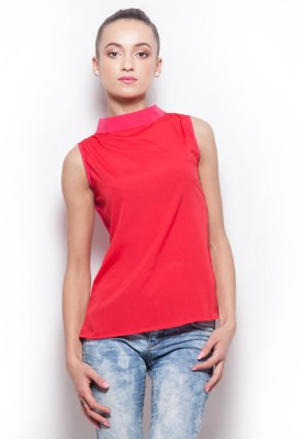 Popnetic Casual Sleeveless Solid Women's Red Top