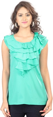 SFDS Festive, Formal, Party Sleeveless Solid Women's Green Top