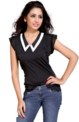 Niriksha Casual Cap sleeve Solid Women's Black Top