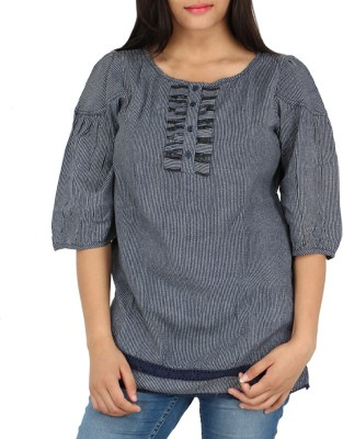 Fashion Fuse Casual 3/4 Sleeve Striped Women's Black, Blue Top
