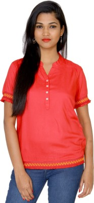 Clodentity Casual Short Sleeve Solid, Embroidered Women's Red Top