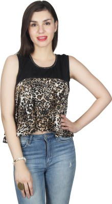 UVR Casual Sleeveless Printed Women's Black Top