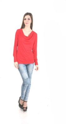 MansiCollections Casual Full Sleeve Solid Women's Red Top
