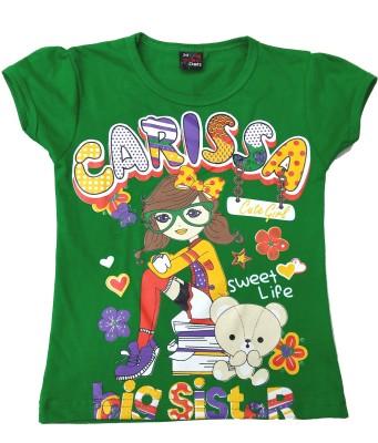 Desire Casual Cap sleeve Printed Girl's Green Top