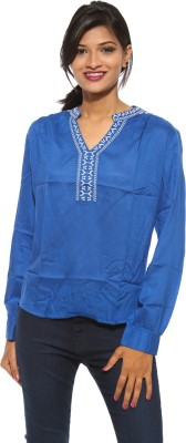 Pepe Casual Full Sleeve Solid Women's Blue Top