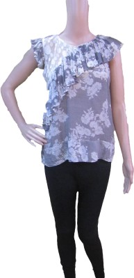 Aaradhya Boutique Casual Short Sleeve Floral Print Women,s Grey Top