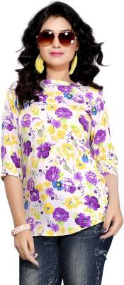 Kurtiz Casual 3/4 Sleeve Floral Print Women's Purple Top