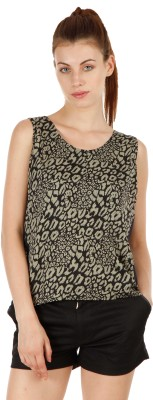 Fuziv Casual Sleeveless Printed Women's Dark Green Top