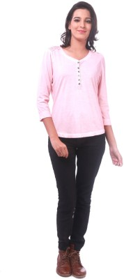 La Divyyu Casual Full Sleeve Solid Women's Pink Top