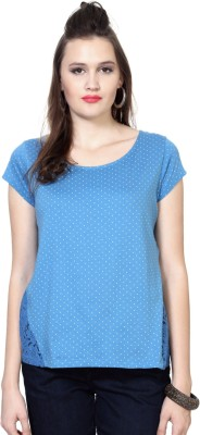People Casual Short Sleeve Polka Print Women's Blue Top at flipkart